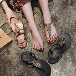 度假海邊沙灘涼鞋女正韓百搭學生平底羅馬鞋網紅夾趾波西米亞涼鞋~[安妮可可]