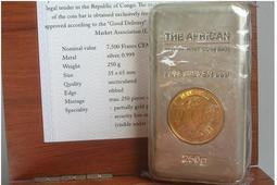 剛果 紀念幣 2013 鍍金獅印CFA紀念銀條 原廠原盒
