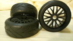 【亞銳行】(現貨)平價版熱熔胎1/8 越野 競卡 公路 平跑 輪胎..越野車胎黑色(熱熔胎) .一車份(四個裝)