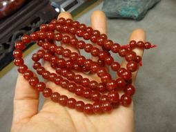 天然冰種 清透紅玉髓108顆 唸珠 手珠 ~~ 優質大紅袍 紅玉髓 圓珠圓滿項鍊 ~~