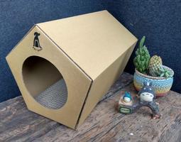 【 PET BAY 】 免組裝五角造型紙箱貓屋/寵物屋/屋子(M)-原價399