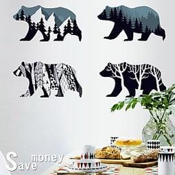 省錢99【HM92008 剪影熊】特大款 90x60cm 第三代壁貼 無痕不傷牆 可重複 送刮板 水平儀(可刷卡)