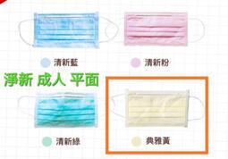 (請先詢問 贈特殊色 勿標)淨新 鵝黃色 成人 平面 口罩 台灣製 雙鋼印 售整盒 不議價