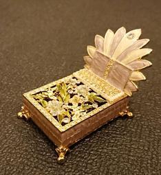 迷你珠寶盒 首飾盒 水鑽 古典歐風 雙人床造型
