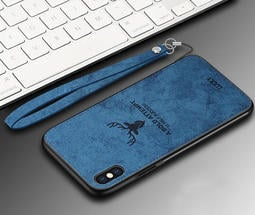 Apple iPhone Xs Max X 布紋保護殼 麋鹿手機殼 保護套 全包邊背蓋 腕帶掛繩 軟殼
