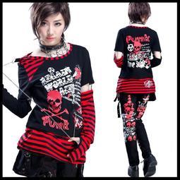 *MINI PUNK LOLO*龐克個性街頭-暗黑惡魔使者骷髏頭印花條紋接袖搖滾個性T恤(71302)PUNK