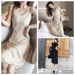 【Secret】V領吊帶背心針織連身裙長款顯瘦內搭裙洋裝禮服-預購-4476