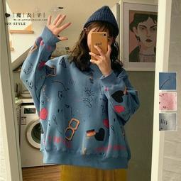 【QV2773】魔衣子-趣味塗鴉內絨寬鬆長袖上衣