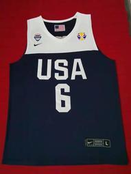 勒布朗·詹姆士 (LeBron James) NBA世界盃美國夢幻隊 6號 球衣 深藍色