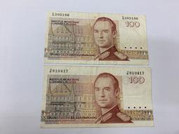 1980年盧森堡100圓(2張簽名不同合拍)