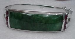 三十年珍藏T2137#天然緬甸玉滿綠水潤翡翠手鐲925銀附證書2萬5出讓