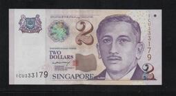 【低價外鈔】新加坡ND(1999)年 2Dollar紙鈔一枚(李顯龍簽名),少見!