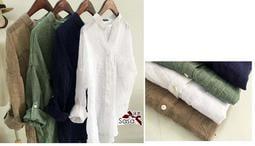 限時特價 *╮日系輕質棉麻亞麻襯衫立領女款大碼防曬衣上衣,一件直購價199元