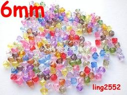98ps 6mm Multicoloured white Crystal Bead