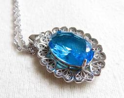 18*13mm/7.6g深藍色通透油亮超閃亮超好切工極美AAA級托帕石挂墜吊墬墬子項墬掛墜項鍊珠寶玉石寶石首飾飾品