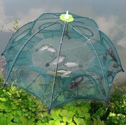 *樂源*送繩 升級新技術6進折疊漁網 6孔傘狀漁網 自動捕魚網 捕魚籠 捕蝦網 提網蝦籠 6入口自動漁網 釣魚漁具 禮物