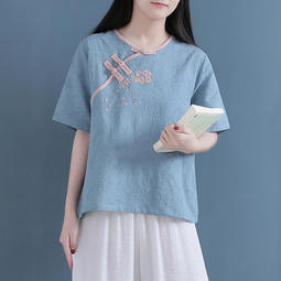 FF611059預購款~中式復古棉麻刺繡襯衫女茶服夏季七分袖斜襟盤扣亞麻短款上衣