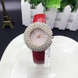 皮帶滿鑽手錶水鑽錶正韓時尚潮流水晶女生時裝女錶小錶盤