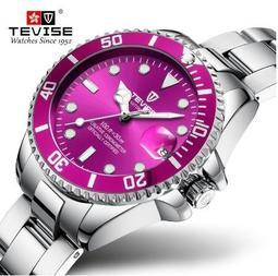 TEVISE 瑞士手錶特威斯鋼帶款 2019年新款全自動石英錶防水行事曆女士錶(送錶帶剪裁器)