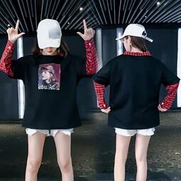 《預購》IEGO~K71399~原宿格子拼接假兩件上衣秋季襯衣領長袖T恤女寬鬆學生打底衫女性衣服服飾流行女裝服裝休閒服