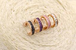 18K玫瑰金半圓冰晶石耳環