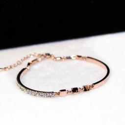~ 手鏈 韓版玫瑰金同心鎖手鏈女 歐美時尚精致金色手鐲飾品禮物可調
