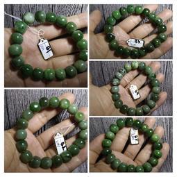 天然和闐玉和田玉軟玉滿綠碧玉手鍊手環手珠手串11-12.5mm珠寶首飾寶石飾品數款任選其一B組