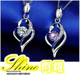 現貨💕925鍍銀💕 鑲鑽項鏈吊墜女 鎖骨鏈 星座心形純銀項鏈女 生日禮物 情人節 送禮 禮品 銀飾E408