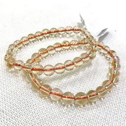 『晶鑽水晶』天然黃水晶手鍊 約7mm 2A 圓珠 淨度高 大孔 強力招財 改善腸胃 情人節禮物 母親節禮物