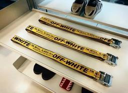 The Cube 正品代購OFF WHITE OW 刺繡 金屬頭 黃色 工業織帶 腰帶 百搭 17SS 200公分
