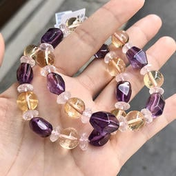 『晶鑽水晶』天然黃水晶+紫水晶+粉水晶手鍊 約10mm 強力招財 改善腸胃 招桃花 情人節禮物 生日禮物 附禮盒