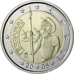 【幣】EURO 西班牙2005年發行 唐吉軻德 2歐元 紀念幣