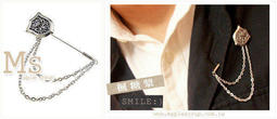 ☆韓國進口-中性魅力時尚明星款 英倫風 盾牌 雙層別針(603-89-1)*(現貨)