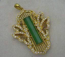 【過眼皆為所有】18K黃金天然翡翠造型別針、天然頂級翡翠A貨、玻璃翠綠、質地通透、DI-020