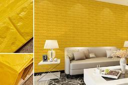 【自粘牆貼】黃色 3d立體磚紋牆紙臥室客廳背景牆防水防潮壁貼墻貼 QL020(多色可選)