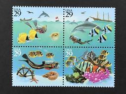 1994美國 海底奇觀  套票4全聯票 72元