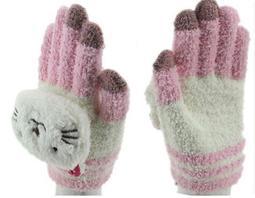 可愛卡通造型   平板電腦  智慧型手機專用 保暖手套  粉紅貓