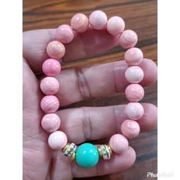 女王貝 手鍊 手環 天河石 手珠 粉紅硨磲 女皇貝 10mm 天然❤水晶玉石特賣#C101-1