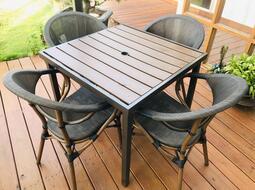 【加百列庭園休閒傢俱】80CM鐵製塑木方桌+鋁製紗網編織一桌四椅組~戶外休閒桌椅~庭園景觀咖啡品茗必備款~