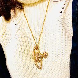 名牌真品 正品⚜️ 英國 Vivienne Westwood 大土星 logo 水鑽 項鍊~