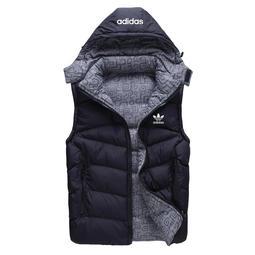 M-4L adidas 愛迪達 背心馬甲 無袖外套 連帽/可拆 秋冬款 背心羽絨保暖棉服 休閒運動時尚背心外套966