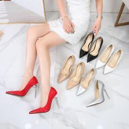 歐美時尚大尺碼性感11cm金屬細跟顯瘦尖頭高跟鞋 #S3466# 預購 MINA.N