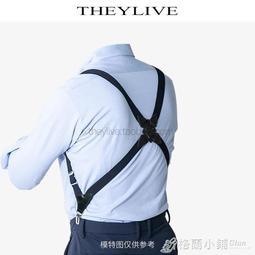 新品優惠-THEYLIVE 經典側夾款男士吊帶 後背式吊帶 2夾鴨嘴扣2.5cm寬