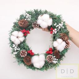 聖誕花圈  松果花圈 聖誕節裝飾花環門掛 花圈 佈置 乾燥聖誕花圈 聖誕節 交換禮物 棉花乾燥藤圈 聖誕佈置