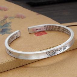 New Pure 999 Fine Silver 6mm Cloud Heart Sutra Bangle 55mm Dia. Hallmark 足银