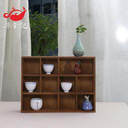 2格 兩抽茶杯架 展示架茶具收納柜 實木茶具架 茶壺架 小博古架 多寶格