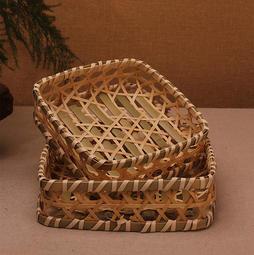 淺綠色竹籮筐 竹編果籃  水果盆 竹筐 糕點心盤子 竹餐墊 酒店飯店托盤