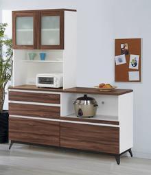 【風禾家具】HJS-725-2@北美胡桃色5.6尺L型餐櫃【台中19600送到家】收納櫃 櫥櫃 環保低甲醛E1系統板傢俱