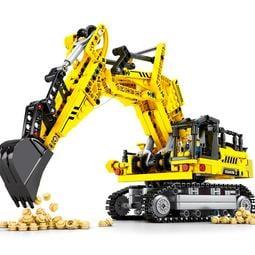 森寶積木兒童工程車挖掘機模型挖土機拼裝玩具男孩子樂高禮物10歲