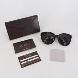 GUCCI 貓眼廣告款黑框太陽眼鏡GG3757FS 880100000587 再生工場YR2006 02